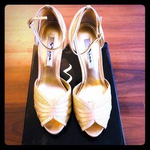 Nina peep toe gold evening shoe